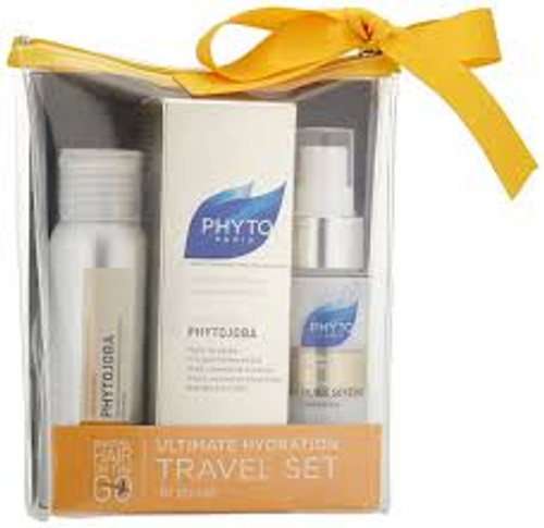 Phyto 3-Piece Set, Phytojoba Intense Hydrating Mask + Phytojoba Shampoo 1.7 Oz + Mask 1.7 Oz, Huile Soyeuse Oil 1 Oz, 1 Kit
