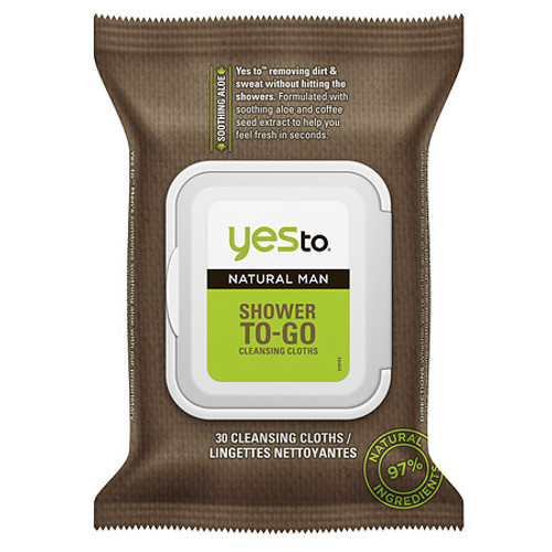 Yes To Natural Man Shower To-Go Cleansing Cloths, 30 Ct, 1 Ea