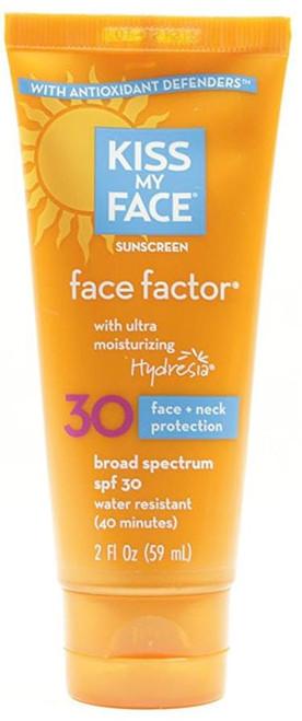 Kiss My Face Sunscreen Face Factor Lotion for Face & Neck SPF 30, 2 Oz
