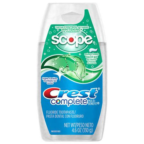 Crest Complete Multi-Benefit Tartar Control + Whitening + Scope Anticavity Fluoride Liquid Toothpaste, Minty Fresh, 4.6 oz