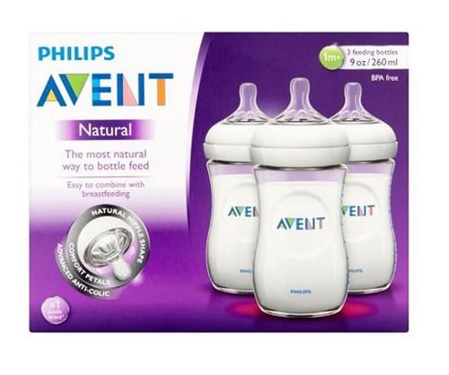 Phillips Avent Natural Natural Nipple BPA Free Bottle, 9 oz, 3 CT