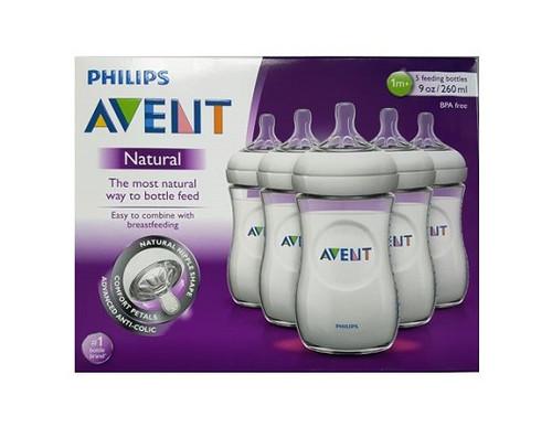 Phillips Avent Natural Natural Nipple BPA Free Bottle, 9 oz, 5 CT