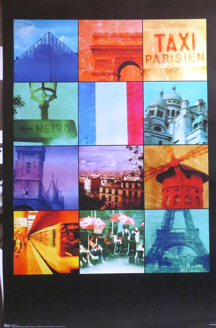 PARIS-Collage- ART Poster-Laminated available-90cm x 60cm-Brand New