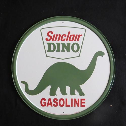 Sinclair Dino Gasoline-30 cm Round-Retro Rustic Metal Tin Sign Man cave