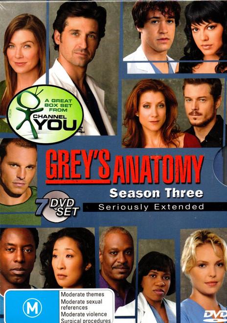Grey's Anatomy: The Complete Third Season (7 Disc Set) DVD - Region 4-Brand New-Still Sealed