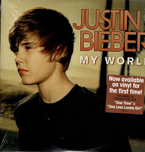 """JUSTIN BIEBER -My World """"One Time"""" """"One Less Lonely Girl"""" Vinyl LP-Brand New-Still Sealed"""