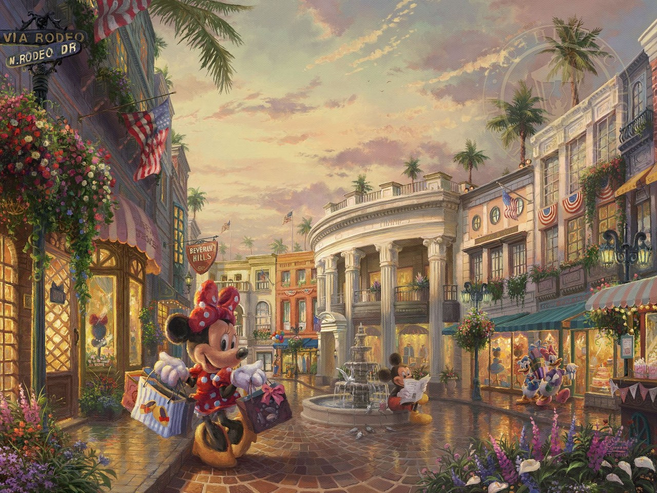 Mickey And Minnie Dots On Rodeo Drive By Thomas Kinkade
