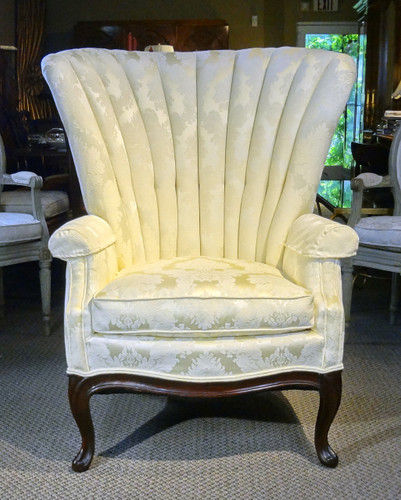 White on White Queen Anne  Style Channel Back Armchair  New York