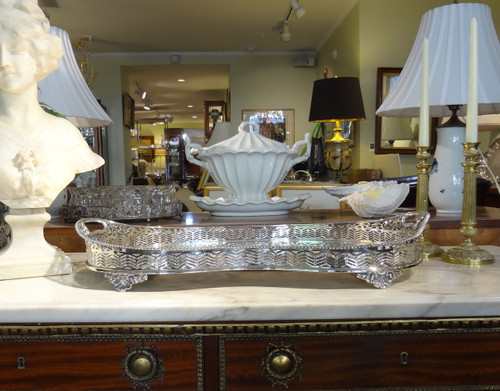 Large Kidney Shaped Silverplate Sheffield Service Tray