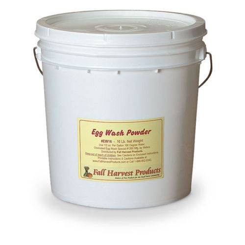 Egg Wash Powder in a 16lb Pail    Egg Wash Powder for soaking and mechanical washing of eggs. Alkaline, chlorinated foam-controlled powder cleans and destains egg shells, limits foam accumulation in egg washing machines. Use at 1/2 oz. per gallon of 100°F. water. Rinse all eggs thoroughly with clean 100°F. water after treatment