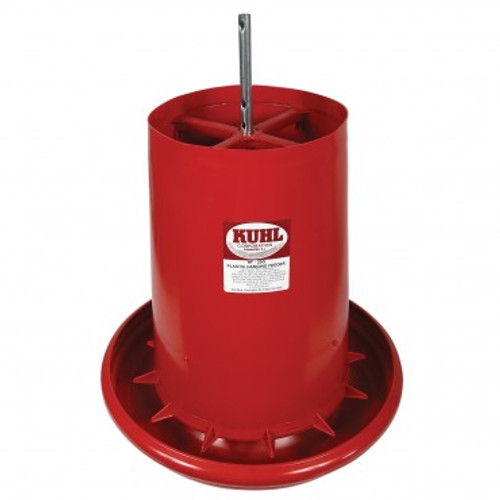 "This KUHL Plastic Hanging Feeder has a built-in grill that reduces wasted feed. Each unit is constructed of heavy-duty polyethylene plastic material for multiple seasons of trouble-free use. Specifications: Dimensions of the Pan: 2 3/4"" H x 17 1/4"" Diameter with a 5/8"" rounded lip Capacity: 35 lbs."