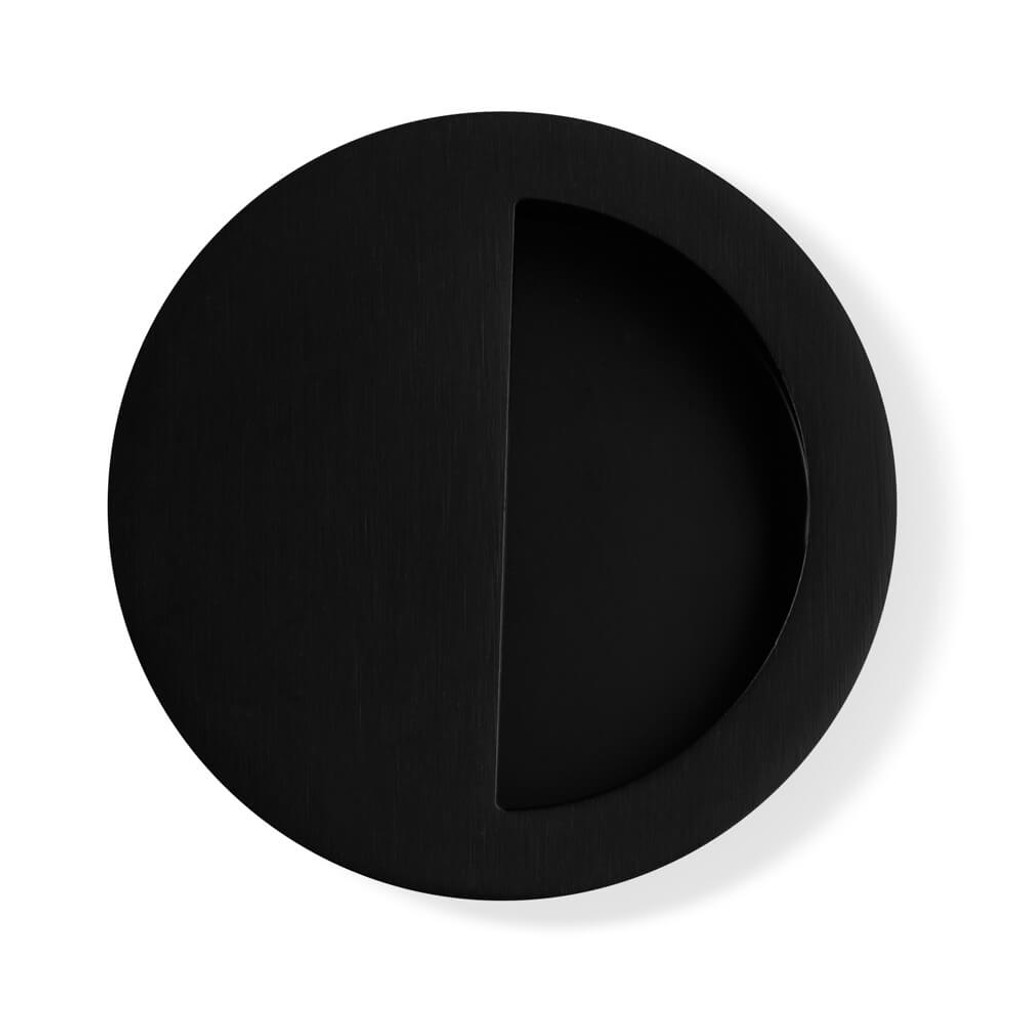 Matte Black Flush Pull Round Handle 90mm Hardware Box
