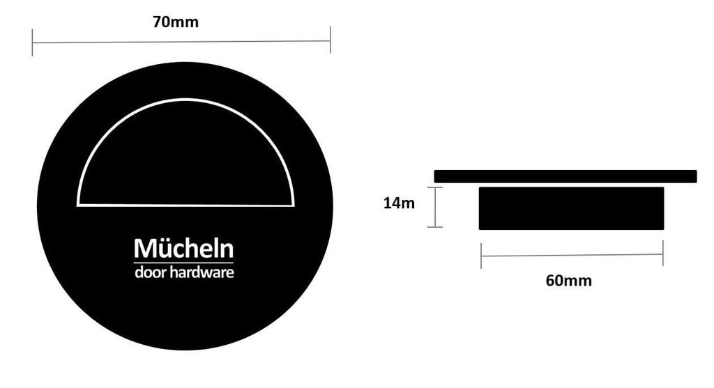 black flush handle 70mm dimensions