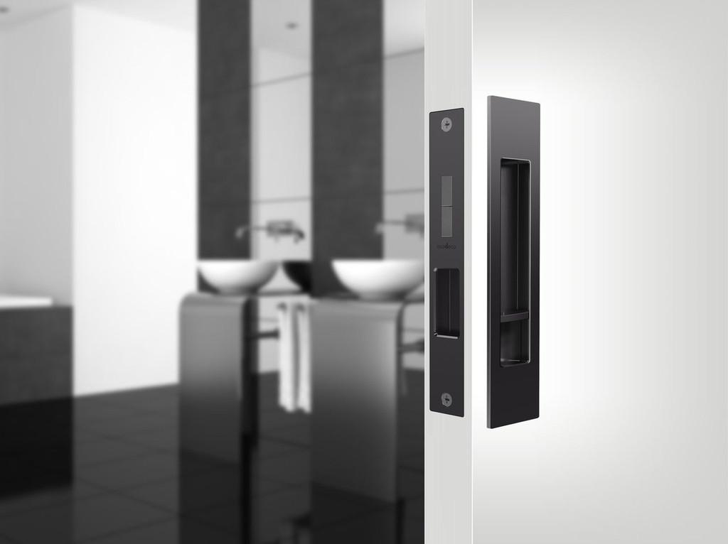 Mardeco black sliding door flush pull set privacy