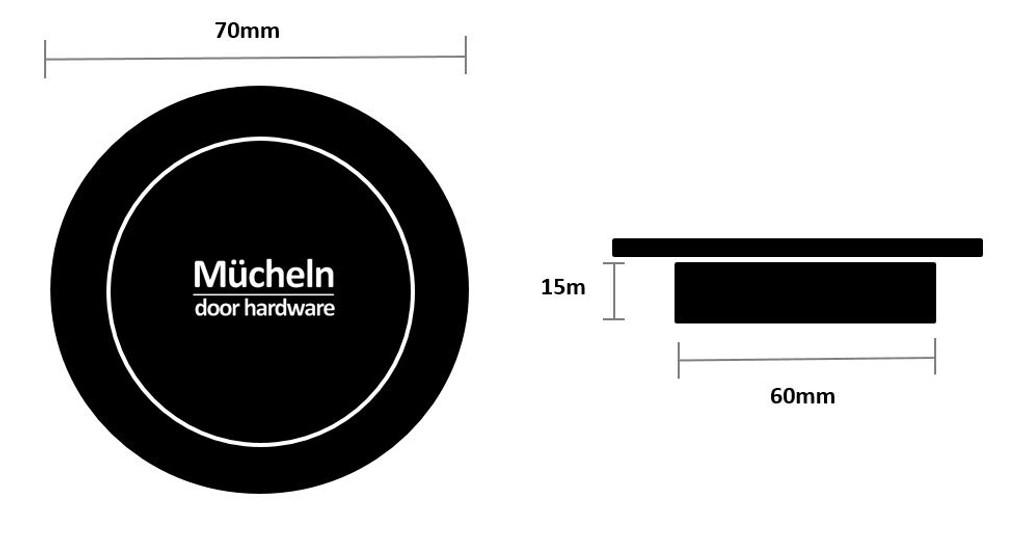 Gunmetal Grey FLUSH PULL Round Handle  70mm