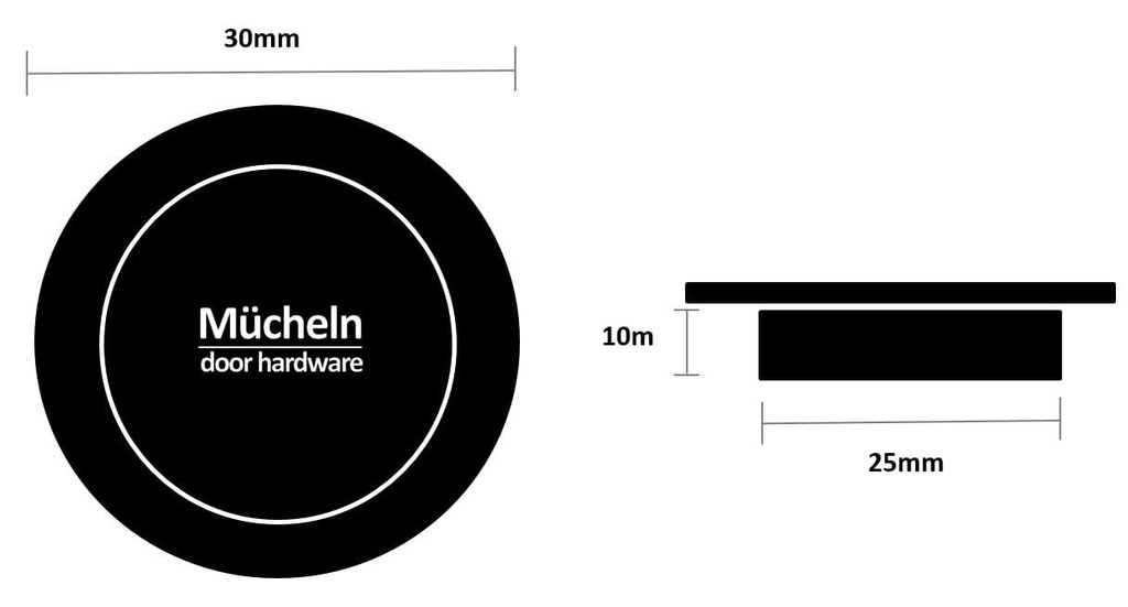 brass 30mm flush pull dimensions