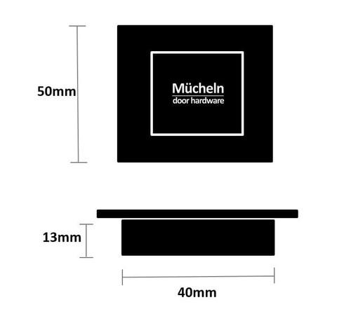 black flush handle 50mm square dimensions