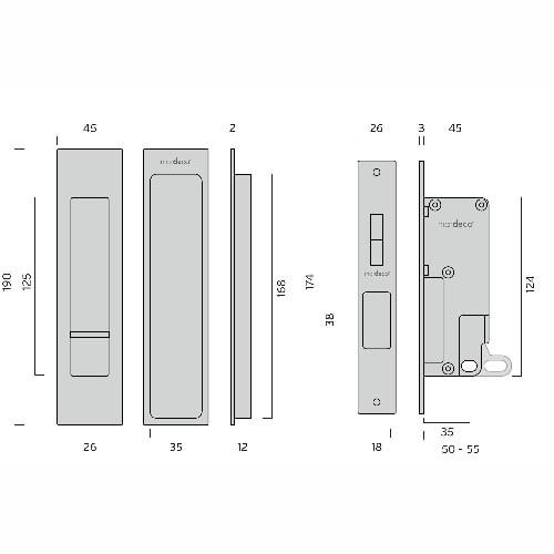 Mardeco black sliding door flush pull set privacy dimensions