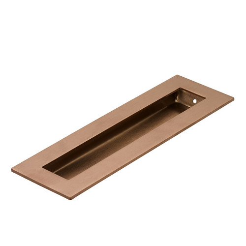 Brushed Copper Flush Pull Rectangle Handle 120mm