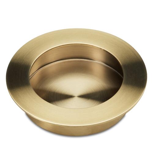 brass flush round cupboard handle side