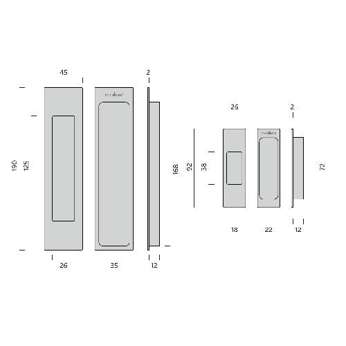 mardeco brass sliding door handle set dimensions