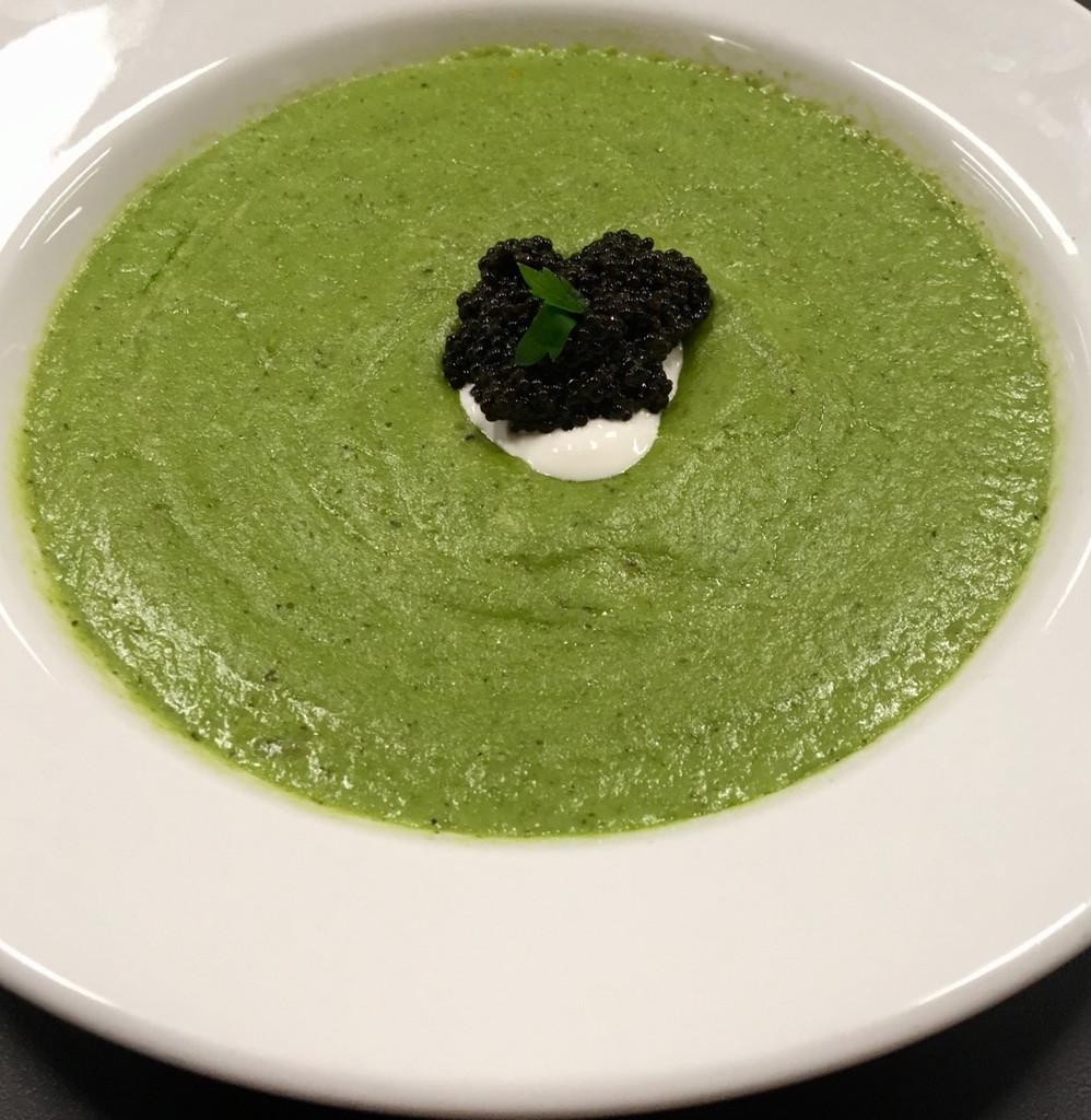 Caviar Star Recipe #18 - Broccoli Soup with Bowfin Caviar