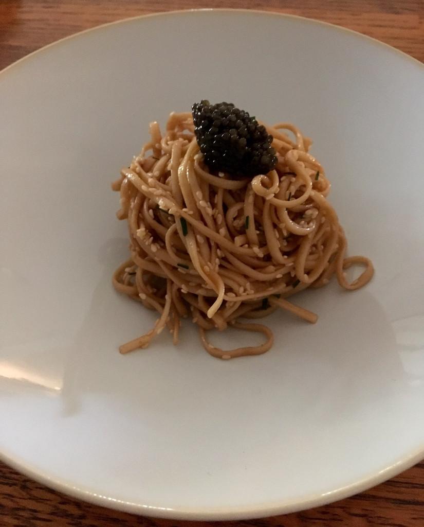 Caviar Recipes - Chinese Sesame Noodles with Kaluga Caviar
