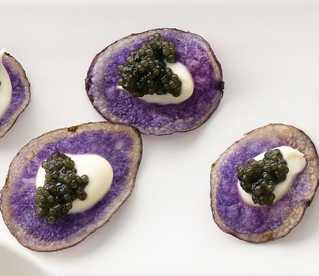 Caviar Recipes - Purple Potato Chips with Creme Fraiche and Osetra Caviar