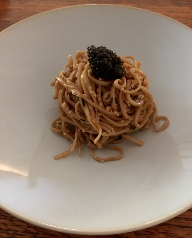 Caviar Recipes - Chinese Sesame Noodles with Kaluga Caviar