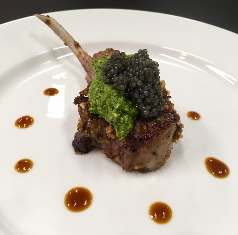 Caviar Recipes - Rack of Lamb with Paddlefish Caviar and Arugula Pesto
