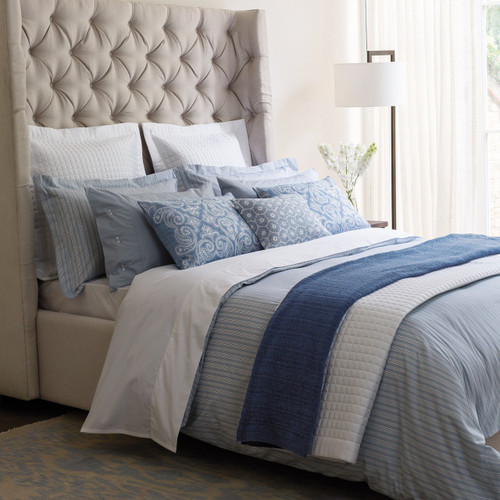 Fable Darcy Stripe Bedding in Sky Blue