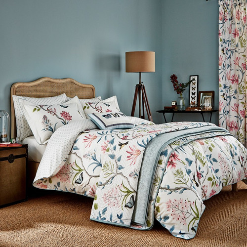 Sanderson Clementine Duvet Cover in Pink and Duck Egg