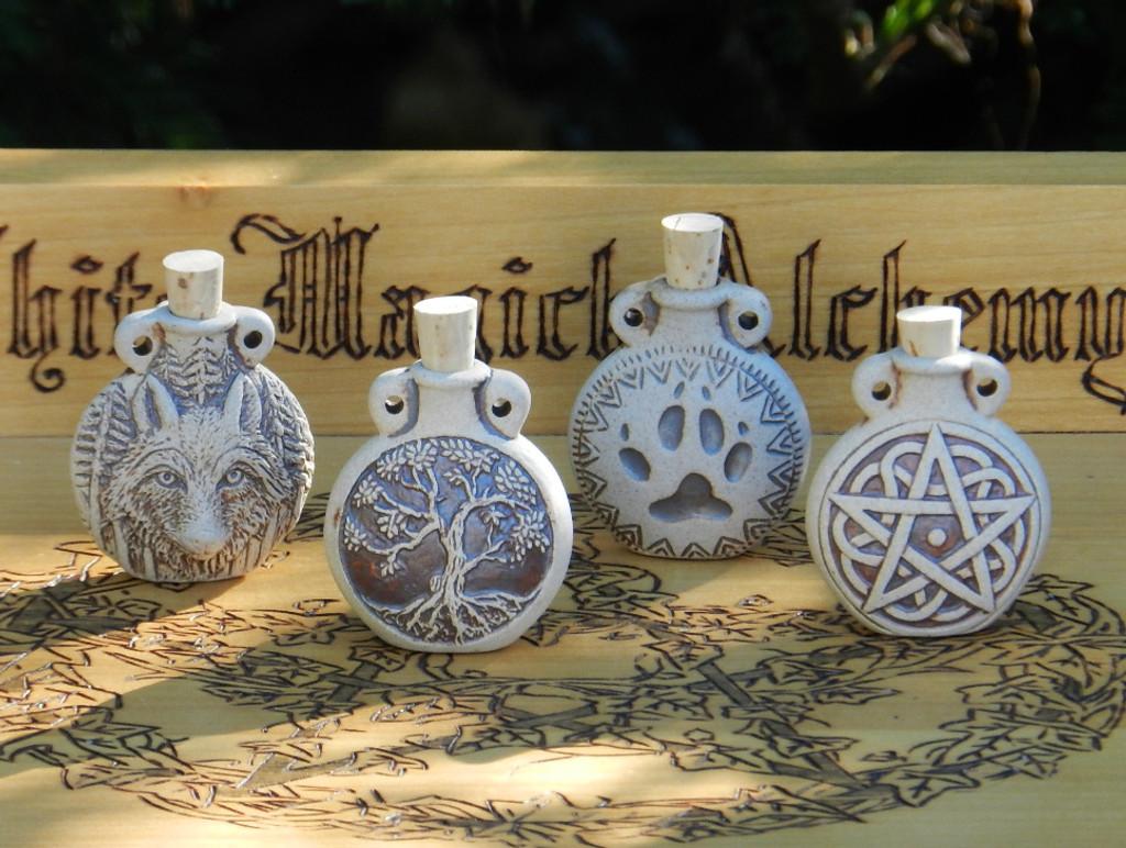 Pentacle Pentagram Ceramic Bottle Natural . Spell Oils, Diffuser, Ashes, Pendant