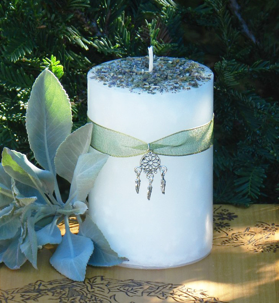 Herbal Alchemy Sacred Sage Smudge Purification Candle with Sage, Cedar & Mugwort . Clear Negative Energies/Spirits, Spiritual Cleansing
