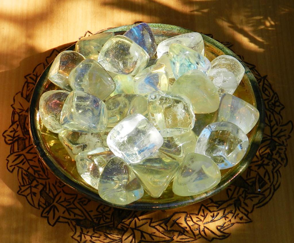 Yellow Obsidian Tumbled Crystal Gemstone . Healing, Stress, Anxiety, Animal Magic,