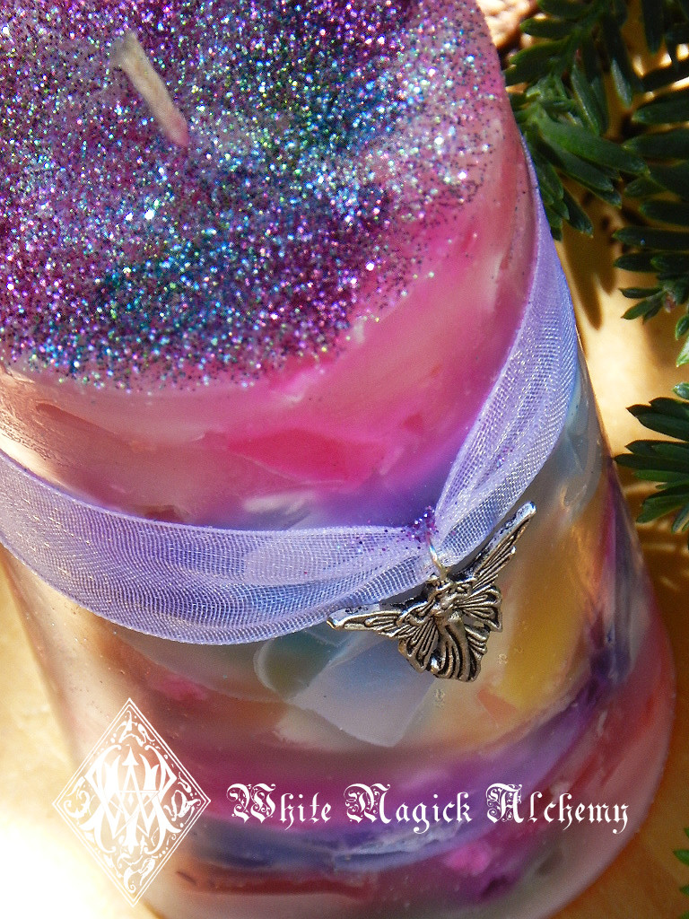 Faerie Worlds . Ambrosia Candle 2x3  for Faerie Magick, Sight, Nature Spirit Workings, Joy, Play, Enchantment