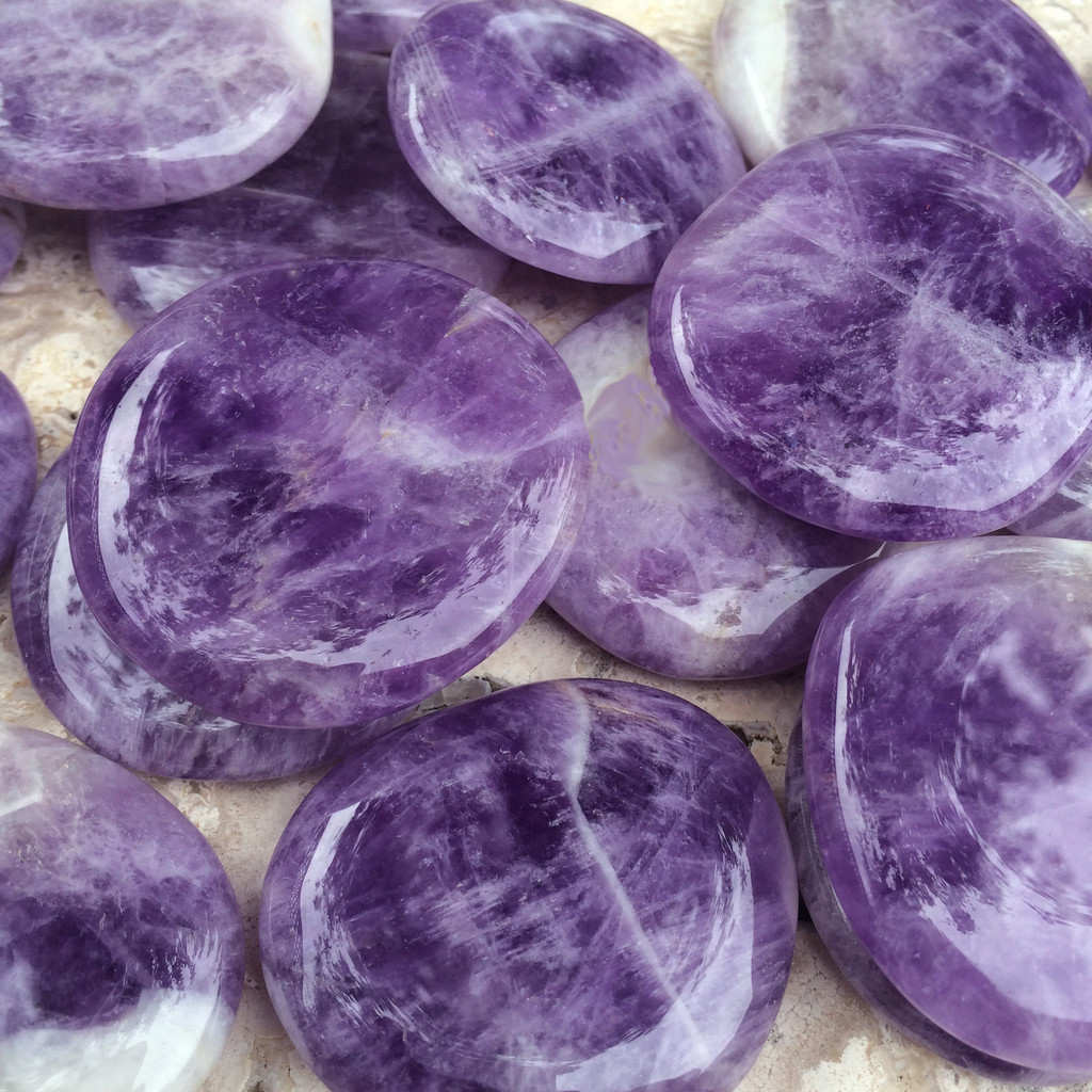 Amethyst Palm Stones for Transformation, Healing, Peace, the Change Stone