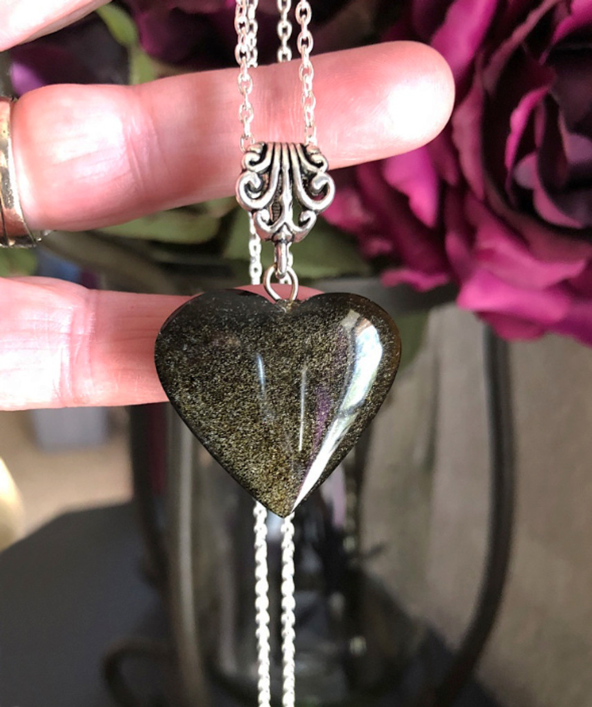 Black Obsidian Heart Pendants with Gold Sheen for Defecting Negative Energies, Stress, Peace, Change, Growth & Karma