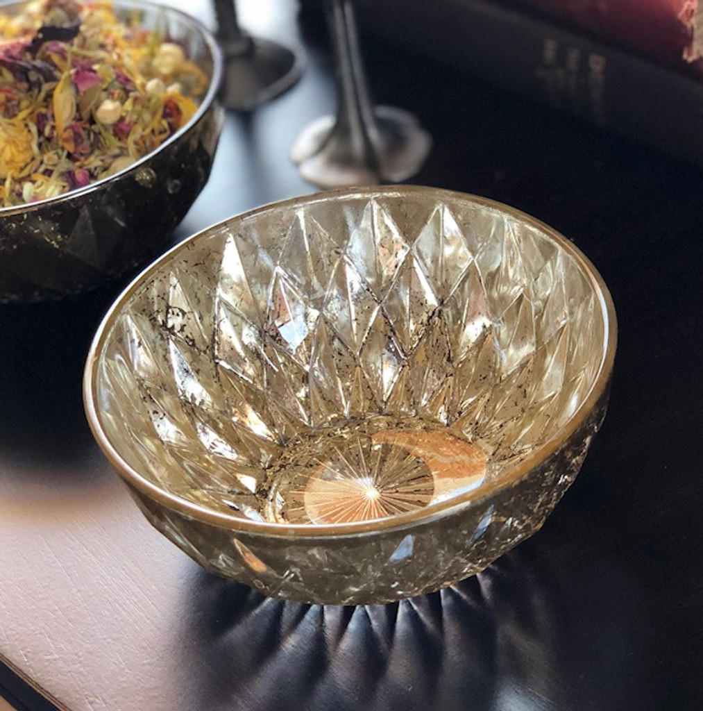 Vintage Diamond Distressed Mercury Glass Offering Bowl