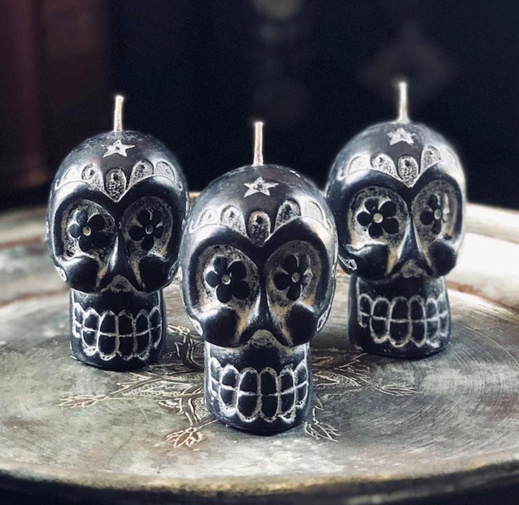 Sugar Skull Candles, Day of the Dead, Dia de los Muertos Candles