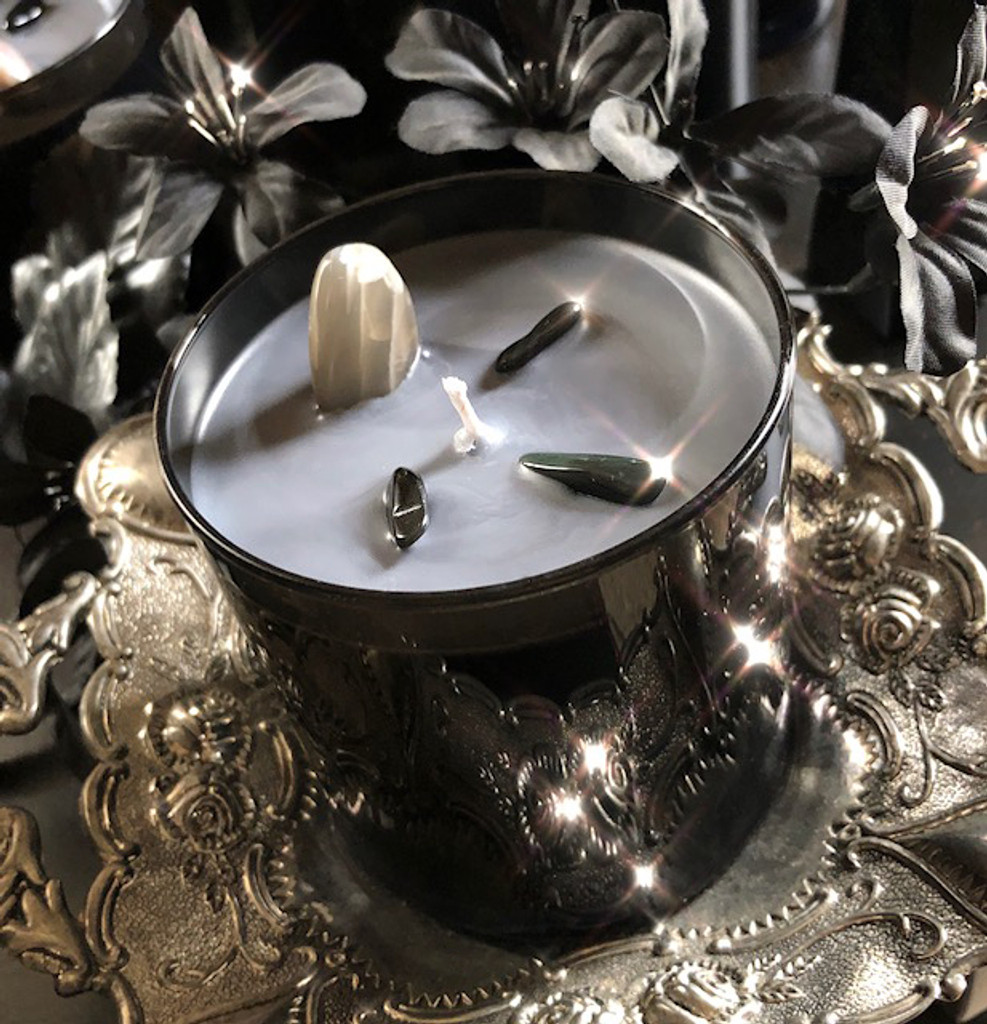 Black Moonstone Alchemy Ritual Candles for Love & Truth Seeking, Moon Goddess Energy 15oz/425 g