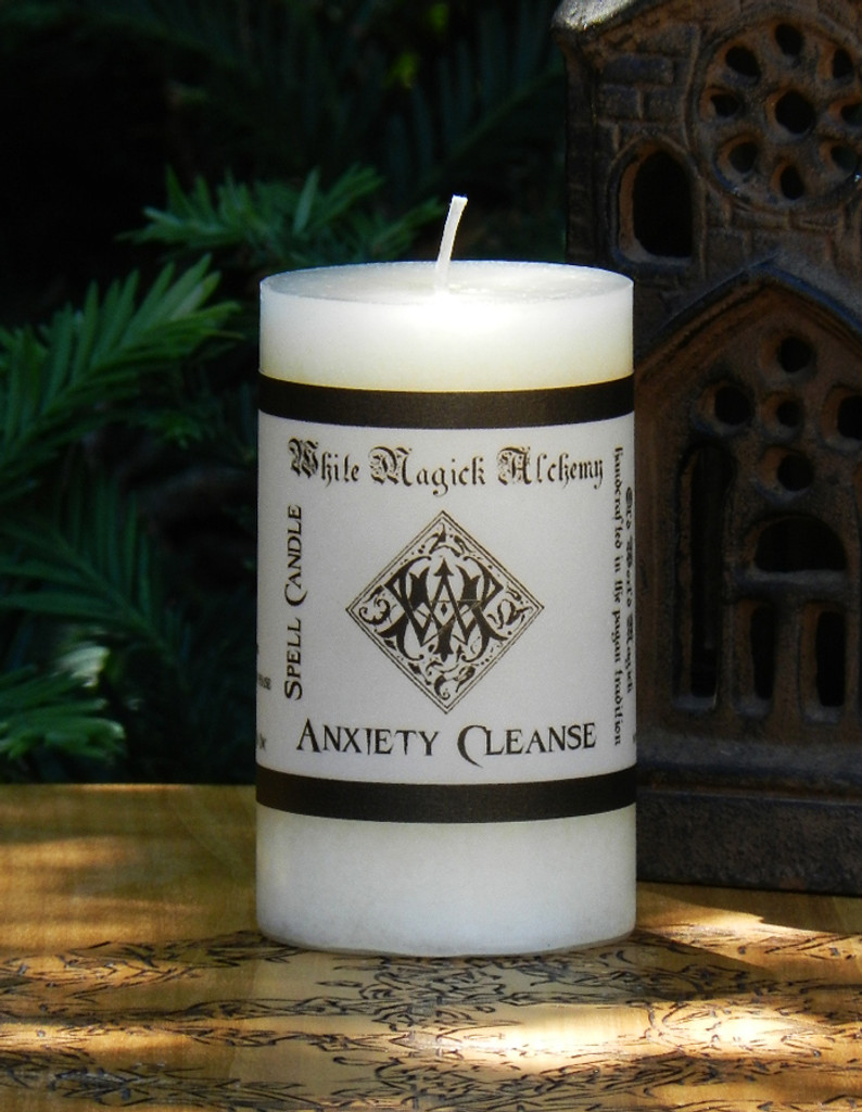 ANXIETY CLEANSE Spell Candle . Remove Anxiety and Panic Facilitating Peace and Calm