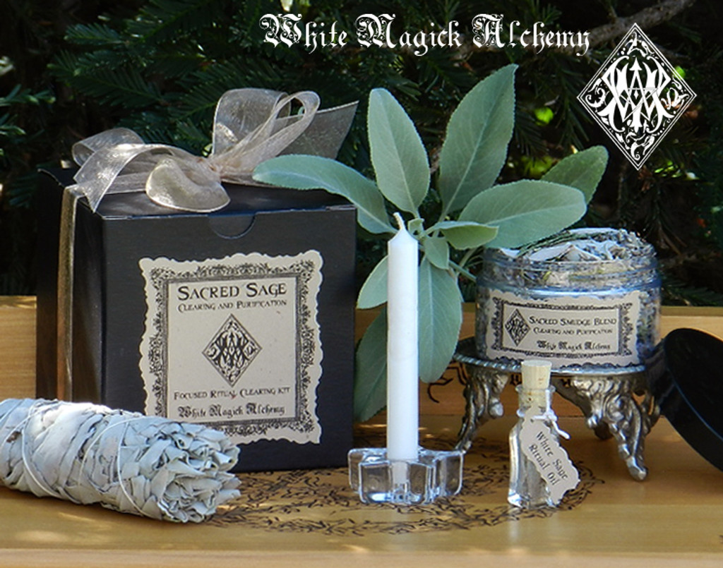 Sacred Sage Herbal Clearing Smudge Set for Cleansing and Clearing the Home/Yourself of Negativity, Banishing, Protection