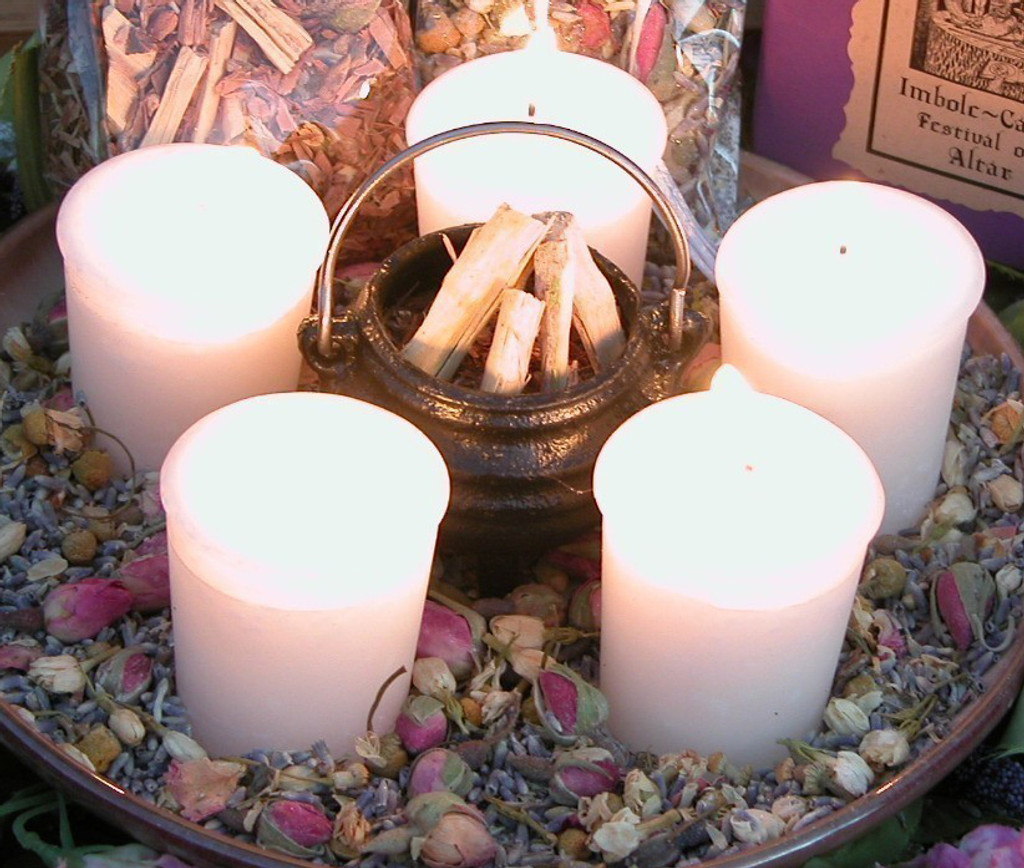 FESTIVAL OF LIGHT Imbolc Candle Wheel ~ Flourishing Abundance, Renewal, Fertility, Purity and Illumination ~ Set of 5 Hand Poured and Witch Blessed Votive Candles