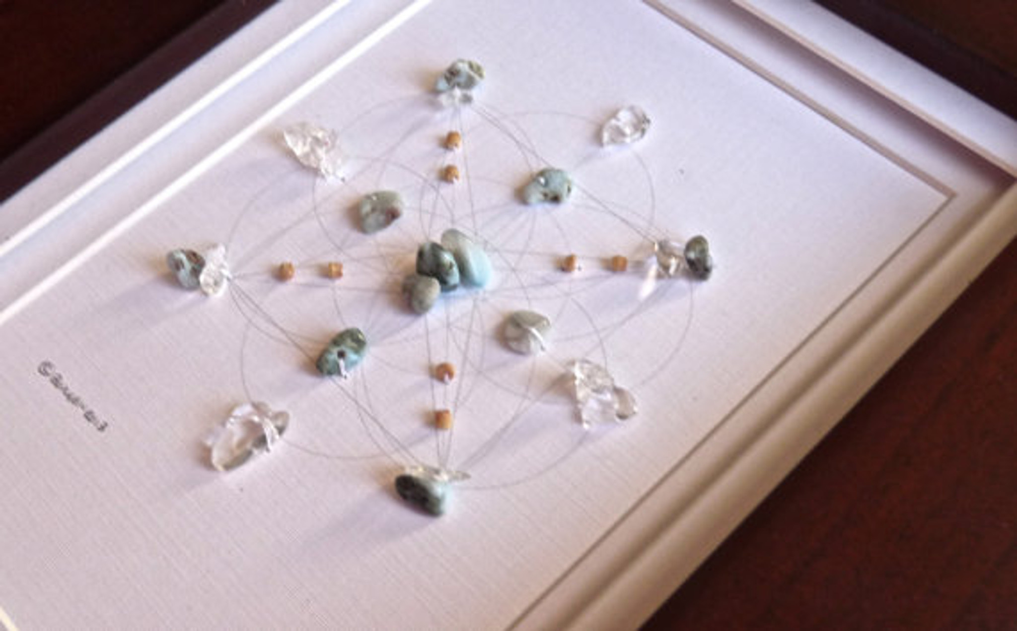 Crystal grid atlantis with crystal quartz and larimar for True frequency jewelry reviews