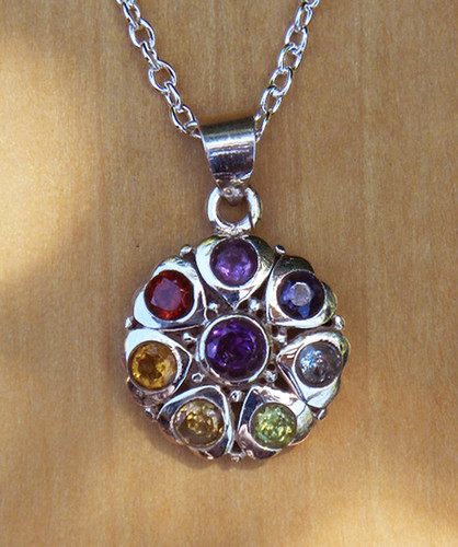 Chakra Sterling Silver Flower of Life Pendant