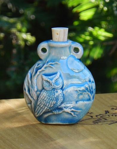 Owl Ceramic Bottle . Spell Oils, Diffuser, Ashes, Pendant