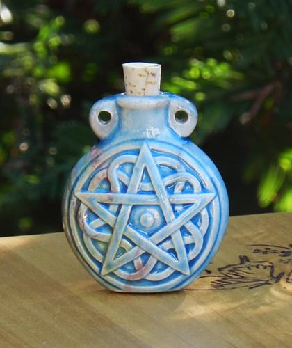 Pentacle Pentagram Ceramic Bottle . Spell Oils, Diffuser, Ashes, Pendant