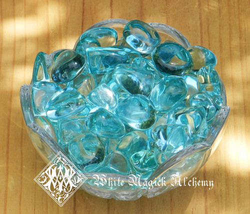 Aqua Blue Obsidian Tumbled Gemstones Large Set of 2 . Truth, Spirituality, Protection