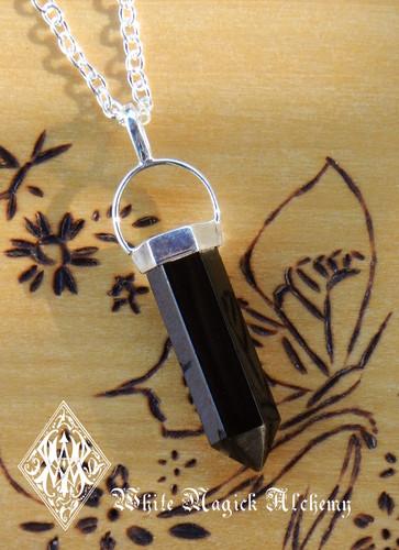 Black Obsidian Pendulum Necklace . Protection, Peace, Negative Energies
